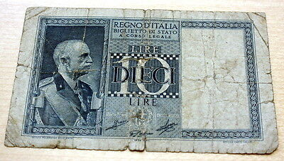 1939 Italy 10 Lire WWII Banknote P-25