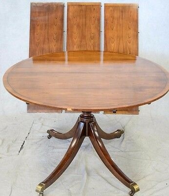 Baker Mahogany Single Pedestal Dining Table Federal Style 3 Leaves