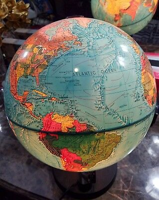 """16"""" Tall World Antique Scan Globe A/S 1983 Made in Denmark Portable Lamp"""