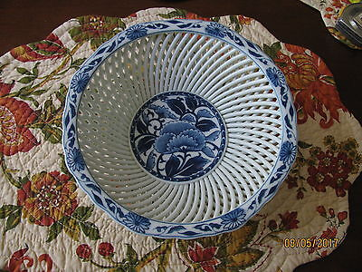 Rare Japanese Japan Signed Hand Painted Porcelain Lattice Bowl  A Beauty