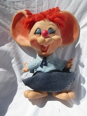 Vintage HURON PRODUCTS CO. Plastic Postal Mail Lady Mouse Coin Bank/Doll