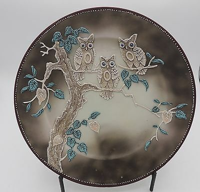 Antique Takito Moriage Owls Cabinet Plate Japan T T Rectangles Mark Hand Painted