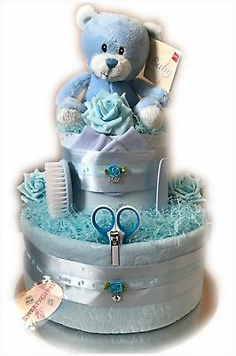 Baby Boy Gift Two Tier Nappy Cake Baby Accessories Maternity Baby Shower Hamper