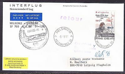 Finland 1985 Interflug IF705 Helsinki to Leipzig  First Flight Cover