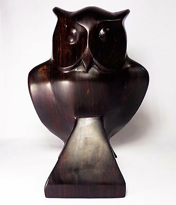 "Modernist Brazilian Solid Rosewood Hand-Carved 7 1/2"" Tall Owl Figure/sculpture"