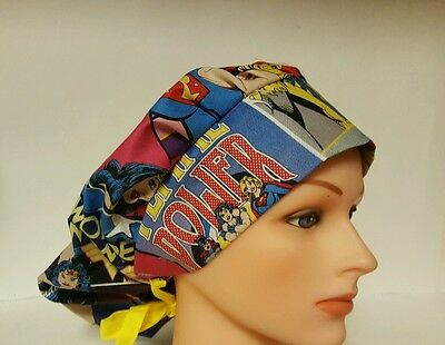 Super  Hero Fans  / Bouffant Style  / Scrub Surgical / Medical / Cap /ponytail