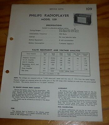 Service Data for Philips Portable Valve Radio model 109 ( radioplayer  ) 1948 ?