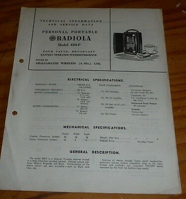 Technical & Service Data brochure for AWA Radiola Model 450-P small radio