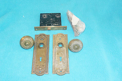 Vintage Brass Ornate Door Knobs, Back Plates And Lock