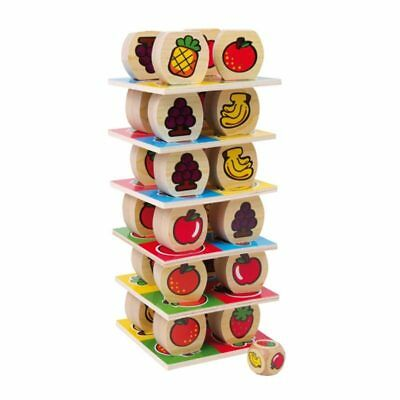 Fruit Tower Stacking Game Wood Wooden Toy Motor Skill Children's