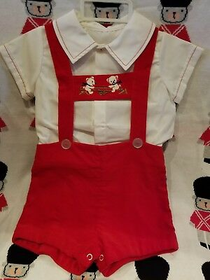 Cute Vintage Boys Velveteen 2 Pc Outfit Teddy Bears Cute!♡Nwot