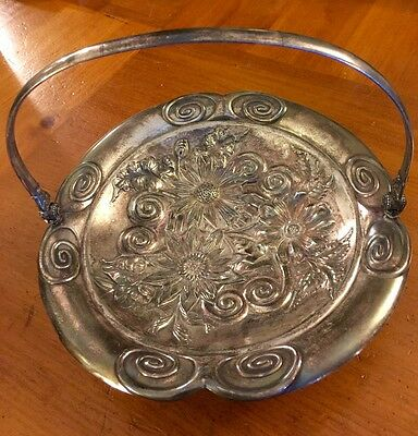 Antique Victorian Quadruple Silverplate Handled Bridal Basket James Tufts