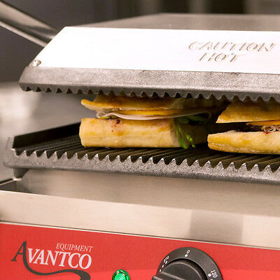 Avantco Commercial Panini Sandwich Grill Press Kitchen Restaurant Grooved