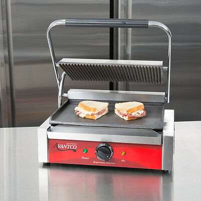 Avantco Commercial Panini Sandwich Grill Press Kitchen Restaurant Grooved/Smooth