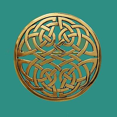 Striking Large Round Gold Celtic Knot Brooch Pin for Dancing Scarf Jacket Kilt