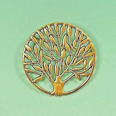 Beautiful Round Tree of Life Gold Brooch Pin Olive Tree Grower Gift ?