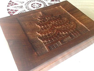 Vintage Exotic wood tea box storage empty Chinese Pagoda High Bas Relief Carving