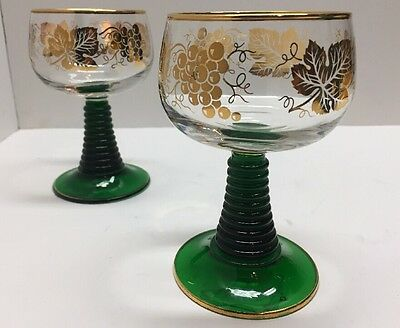 "2 Wine Glasses 4 1/2"" Roemer Green D'Arques Luminarc France Grapevine Green Stem"
