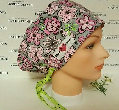 Pink  Flowers  On Gray /pixie / Scrub Surgical / Medical Chemo