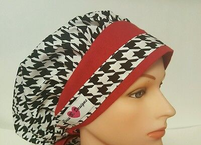 Hounds Tooth / Bouffant Scrub / Surgical  /cap /ponytail
