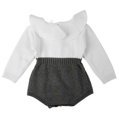 Baby Kids Girls Knitted Rompers Long Sleeve Overalls Ruffles Princess Jumpsuits