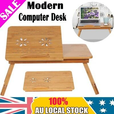 Notebook Computer iPad PC Stand Table Tray Bamboo Mobile Laptop w/ Cooler Hole