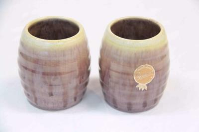 Remued 2 x Small Vases Brown Drip Glaze Australian Pottery #12593