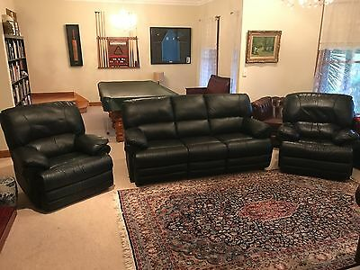Black Leather Recliner Lounge Suite