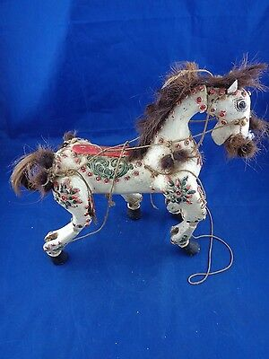 Vintage Articulated Wood HORSE / Hand Carved & Painted-Folk Art, Puppet Circus