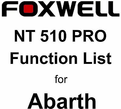Function List for Abarth Foxwell NT510 PRO OBD OBD2 scanner pdf-file