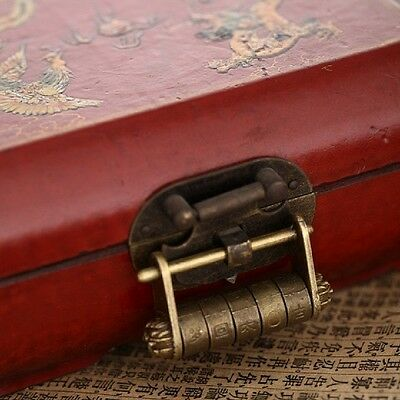 Retro Vintage Chinese Old Style Antique Brass Carved Word Password Padlock Locks
