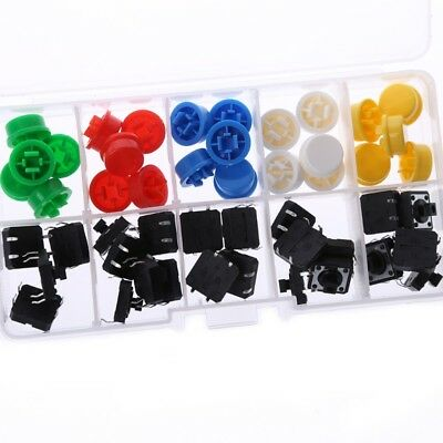 25 Pcs Tactile Momentary Push Button Touch Micro Switch 4P PCB w/Cap 12x12x7.3mm