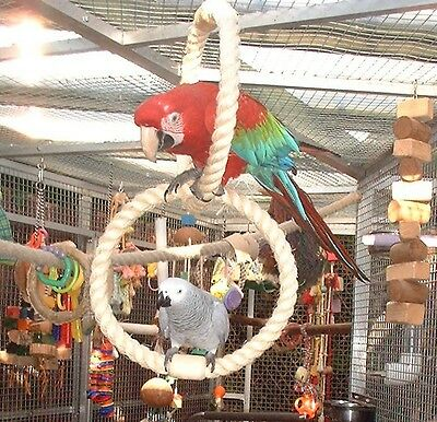 New Sisal Rope Parrot Perch Large Double Swing Rings Toy