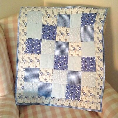 Shabby Chic Patchwork Boys Baby Cot Quilt