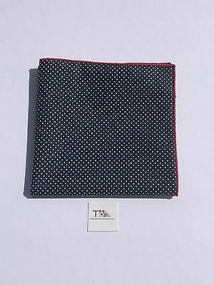 Navy Blue And White Pin Dot Pocket Square with Red Trim