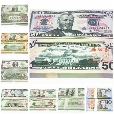 Dollars GBP EUR AUD 100pcs Novelty Fake Prop Play Money Trainning Banknotes