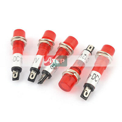 5 Pcs  Red Bulb Power Signal Indicator Pilot Light Lamp AC DC 12V 7mm