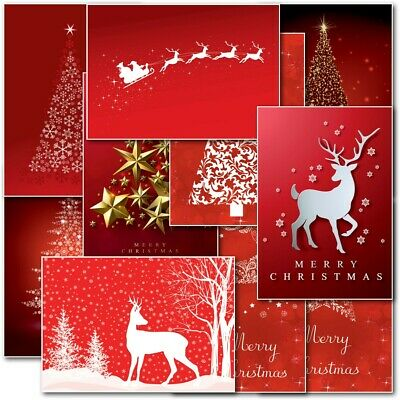 Contempory Box Pack Christmas Cards Premium 10 Mixed Designs with Envelopes