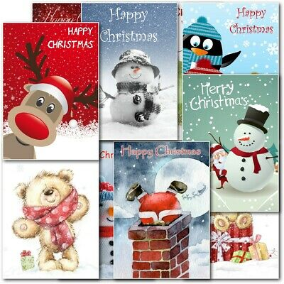 Childrens Cute Box Pack Premium Quality Mixed Christmas Cards Boys Girls Kids
