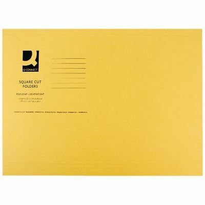 Q-Connect Yellow Square Cut Folder Lightweight 180gsm Foolscap [KF26027]