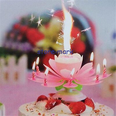 Lotus Beautiful Songs Flowers Party Pink Rotatable Blossom Candle Romantic