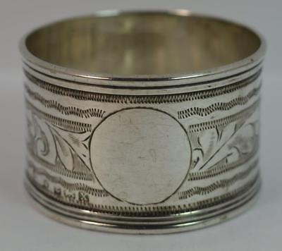 1922 Antique Solid Silver Engraved Napkin Ring