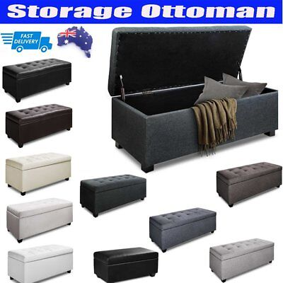 Large Blanket Box Ottoman Storage Linen Fabric Leather Foot Stool Toy Chest Bed