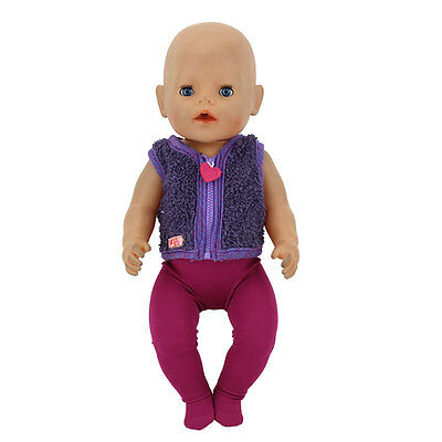 Purple Set Sport Doll Clothes Wearfor 43cm Baby Born zapf (only sell clothes)