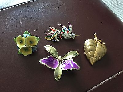 old broaches  gold  tone, enamel and porcelain