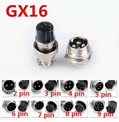 GX16 Aviation Connector Plugs Male /Female 5A 16mm Contacts 2/3/4/5/6/7/8/9 Pin