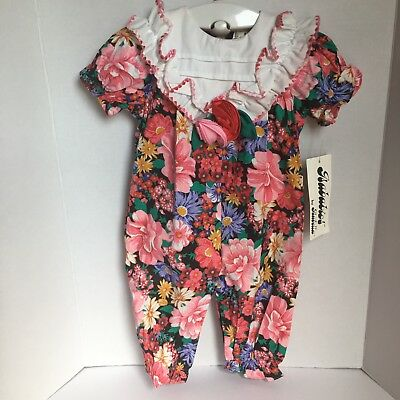 Deadstock Vintage Floral Jumper 9 Months Isababies Collar Dainty Nwt