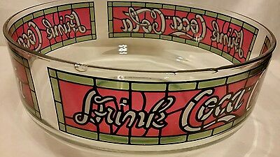 RARE Coca Cola Glass Tiffany Style Stained Drink Dip Bowl Coke