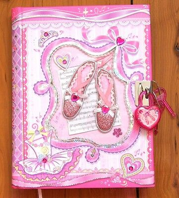 Girls Lockable Diary - Ballet Shoes New Journal Diary with Lock