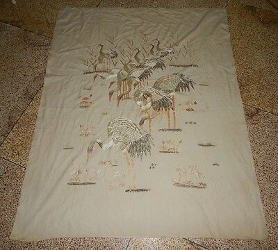 Superb Antique Chinese Cranes Hand Embroidered Wall Hanging Panel (X247)